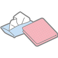 ピンクのハンカチとポケットティッシュ